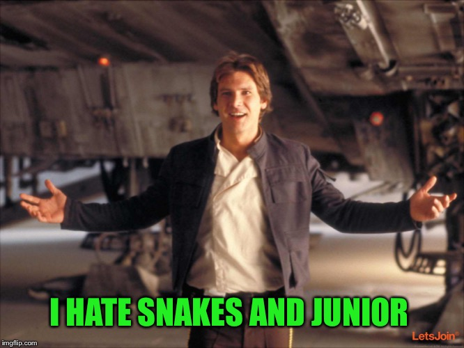 Han Solo New Star Wars Movie | I HATE SNAKES AND JUNIOR | image tagged in han solo new star wars movie | made w/ Imgflip meme maker
