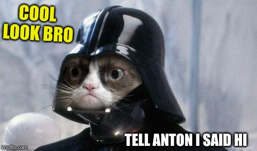 Grumpy Cat Star Wars Meme | COOL LOOK BRO TELL ANTON I SAID HI | image tagged in memes,grumpy cat star wars,grumpy cat | made w/ Imgflip meme maker