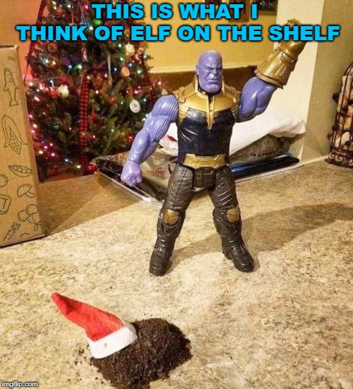Thanos uses the glove for good. | THIS IS WHAT I THINK OF ELF ON THE SHELF | image tagged in thanos,elf on the shelf,destroy,humor | made w/ Imgflip meme maker