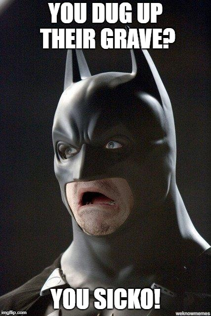Batman Horrified | YOU DUG UP THEIR GRAVE? YOU SICKO! | image tagged in batman horrified | made w/ Imgflip meme maker