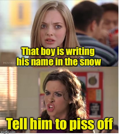 Winter Pun | That boy is writing his name in the snow Tell him to piss off | image tagged in mean girls why are you white,bad pun,snow | made w/ Imgflip meme maker