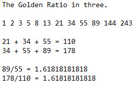 The Golden Ratio works with three. | image tagged in the golden ratio,math,mathematics | made w/ Imgflip meme maker