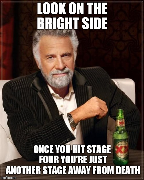 The Most Interesting Man In The World Meme | LOOK ON THE BRIGHT SIDE ONCE YOU HIT STAGE FOUR YOU'RE JUST ANOTHER STAGE AWAY FROM DEATH | image tagged in memes,the most interesting man in the world | made w/ Imgflip meme maker