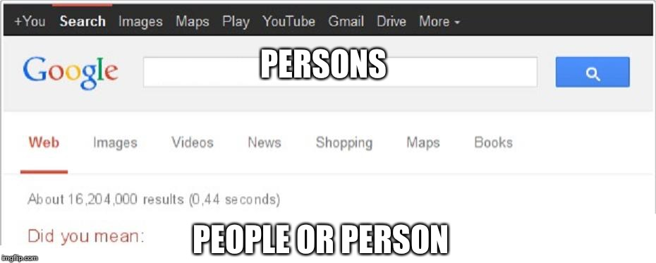 Did You Mean...? | PERSONS PEOPLE OR PERSON | image tagged in did you mean | made w/ Imgflip meme maker