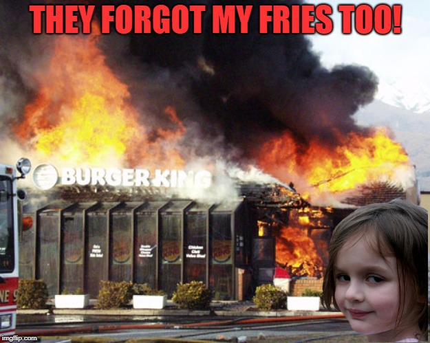 Burger King On Fire | THEY FORGOT MY FRIES TOO! | image tagged in burger king on fire | made w/ Imgflip meme maker