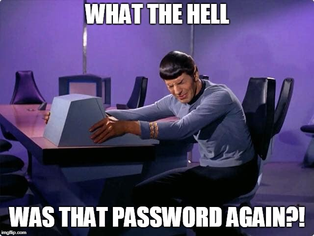 Spock Online Shopping | WHAT THE HELL WAS THAT PASSWORD AGAIN?! | image tagged in internet,shopping,mr spock,password | made w/ Imgflip meme maker