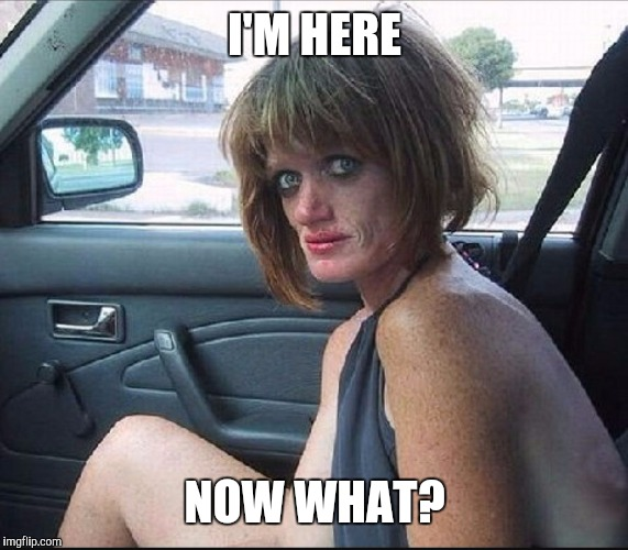 crack whore hooker | I'M HERE NOW WHAT? | image tagged in crack whore hooker | made w/ Imgflip meme maker