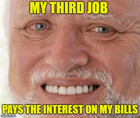 harold smiling | MY THIRD JOB PAYS THE INTEREST ON MY BILLS | image tagged in harold smiling | made w/ Imgflip meme maker