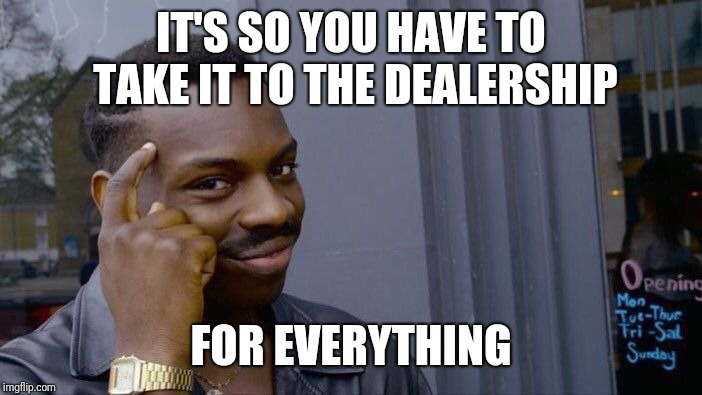 Roll Safe Think About It Meme | IT'S SO YOU HAVE TO TAKE IT TO THE DEALERSHIP FOR EVERYTHING | image tagged in memes,roll safe think about it | made w/ Imgflip meme maker