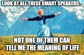 Look At All These | LOOK AT ALL THESE SMART SPEAKERS... NOT ONE OF THEM CAN TELL ME THE MEANING OF LIFE | image tagged in memes,look at all these | made w/ Imgflip meme maker
