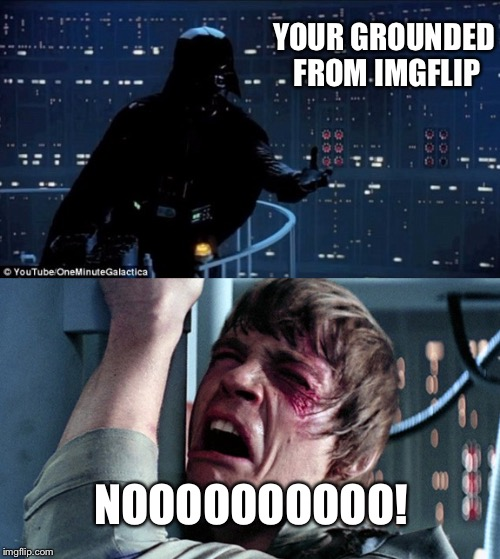 darth vader luke skywalker | YOUR GROUNDED FROM IMGFLIP NOOOOOOOOOO! | image tagged in darth vader luke skywalker | made w/ Imgflip meme maker