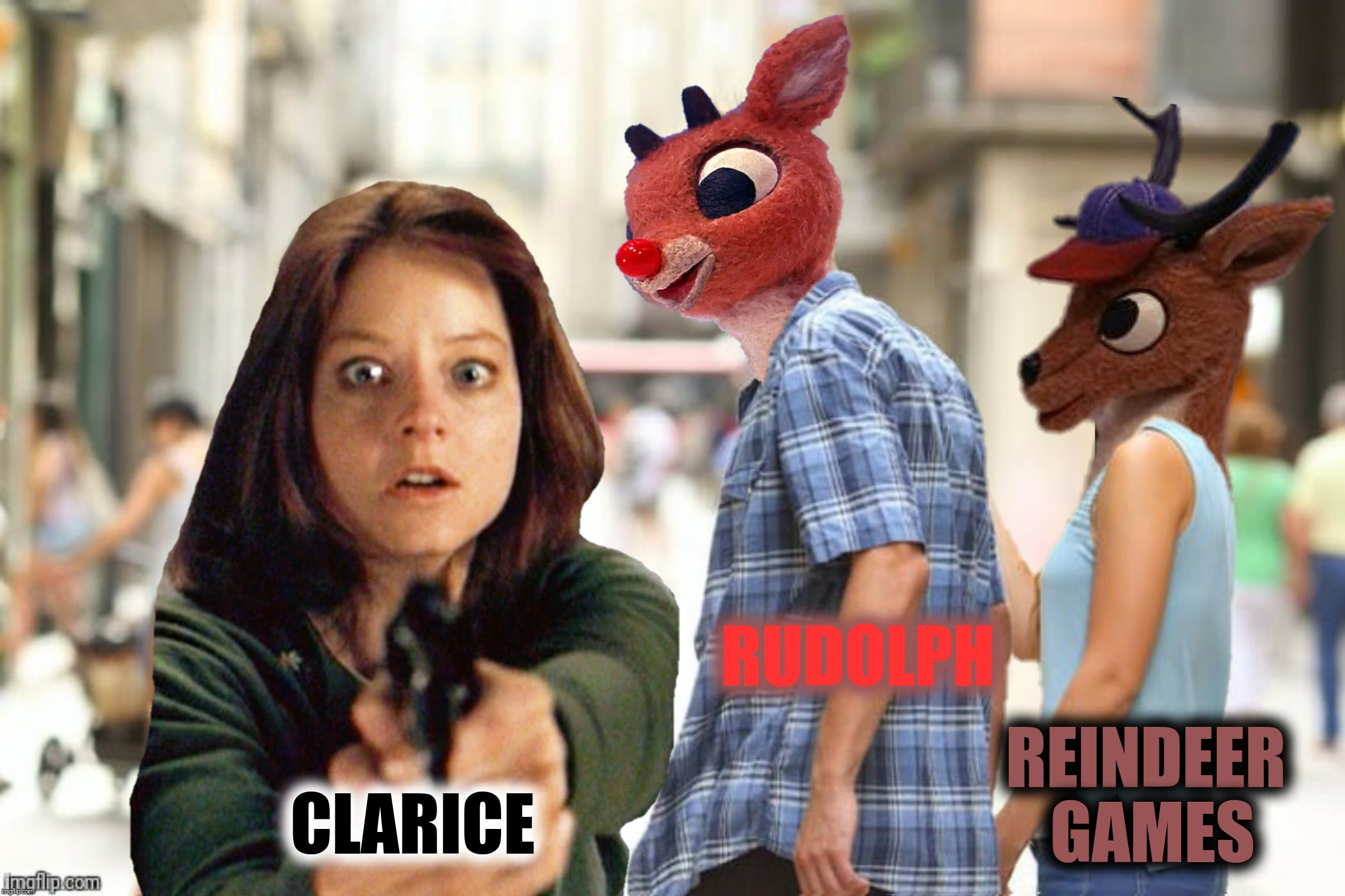 Bad Photoshop Sunday presents:  The Silence Of The Reindeer |  RUDOLPH; REINDEER GAMES; CLARICE | image tagged in bad photoshop sunday,rudolph the red nosed reindeer,silence of the lambs,clarice,reindeer games | made w/ Imgflip meme maker
