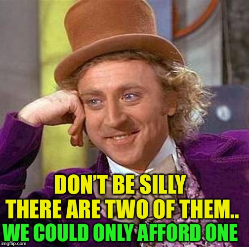 Creepy Condescending Wonka Meme | DON'T BE SILLY THERE ARE TWO OF THEM.. WE COULD ONLY AFFORD ONE | image tagged in memes,creepy condescending wonka | made w/ Imgflip meme maker