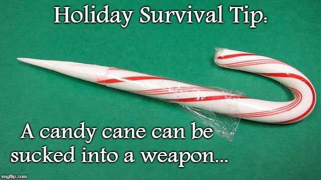 Holiday Survival Tip... | Holiday Survival Tip: A candy cane can be sucked into a weapon... | image tagged in candy cane,sucked,weapon | made w/ Imgflip meme maker