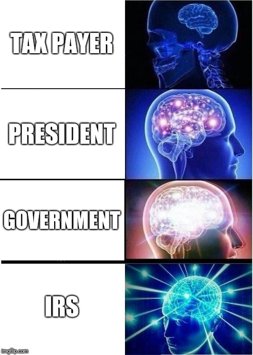 Expanding Brain Meme | TAX PAYER PRESIDENT GOVERNMENT IRS | image tagged in memes,expanding brain | made w/ Imgflip meme maker