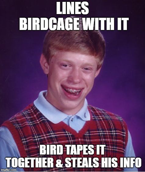 Bad Luck Brian Meme | LINES BIRDCAGE WITH IT BIRD TAPES IT TOGETHER & STEALS HIS INFO | image tagged in memes,bad luck brian | made w/ Imgflip meme maker