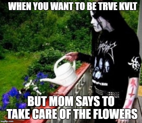 Black metal listeners will hopefully get a kick out of it!  | WHEN YOU WANT TO BE TRVE KVLT BUT MOM SAYS TO TAKE CARE OF THE FLOWERS | image tagged in secret tag,funny,memes,black metal,trve kvlt | made w/ Imgflip meme maker
