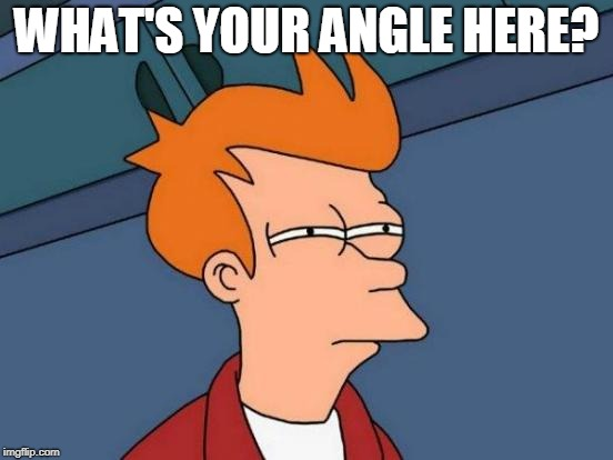 Futurama Fry Meme | WHAT'S YOUR ANGLE HERE? | image tagged in memes,futurama fry | made w/ Imgflip meme maker