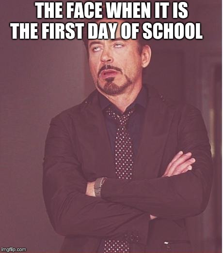 Face You Make Robert Downey Jr Meme | THE FACE WHEN IT IS THE FIRST DAY OF SCHOOL | image tagged in memes,face you make robert downey jr | made w/ Imgflip meme maker