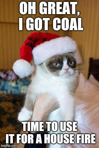 Grumpy Cat Christmas | OH GREAT, I GOT COAL TIME TO USE IT FOR A HOUSE FIRE | image tagged in memes,grumpy cat christmas,grumpy cat,christmas | made w/ Imgflip meme maker