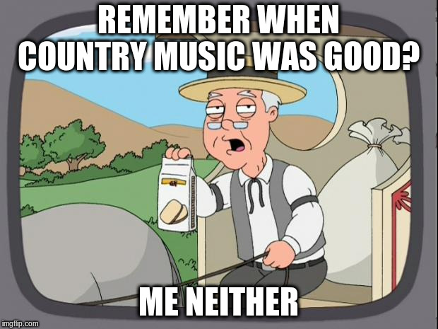 was country music ever good? |  REMEMBER WHEN COUNTRY MUSIC WAS GOOD? ME NEITHER | image tagged in peperidge,music | made w/ Imgflip meme maker
