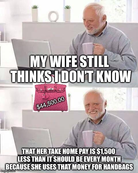 Hide the Pain Harold | MY WIFE STILL THINKS I DON'T KNOW THAT HER TAKE HOME PAY IS $1,500 LESS THAN IT SHOULD BE EVERY MONTH BECAUSE SHE USES THAT MONEY FOR HANDBA | image tagged in memes,hide the pain harold,true story bro | made w/ Imgflip meme maker