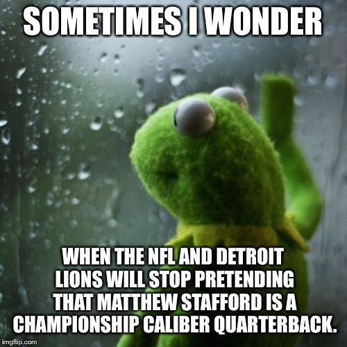 Matthew Stafford is overrated | SOMETIMES I WONDER WHEN THE NFL AND DETROIT LIONS WILL STOP PRETENDING THAT MATTHEW STAFFORD IS A CHAMPIONSHIP CALIBER QUARTERBACK. | image tagged in sometimes i wonder,memes,detroit lions,nfl football,sucks,fantasy | made w/ Imgflip meme maker