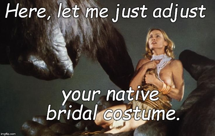 Here, let me just adjust your native bridal costume. | made w/ Imgflip meme maker