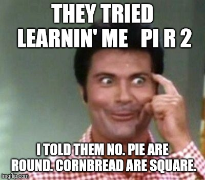 It Works Better If I Could Use The Pi Symbol Equation. | THEY TRIED LEARNIN' ME   PI R 2 I TOLD THEM NO. PIE ARE ROUND. CORNBREAD ARE SQUARE. | image tagged in math,beverly hillbillies,mathematics,math in a nutshell | made w/ Imgflip meme maker