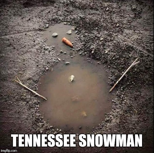 Tennessee snowman | TENNESSEE SNOWMAN | image tagged in snowman,tennessee,mud | made w/ Imgflip meme maker