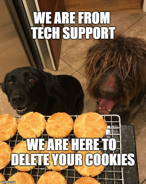 Delete Your Cookies | WE ARE FROM TECH SUPPORT WE ARE HERE TO DELETE YOUR COOKIES | image tagged in funny dogs | made w/ Imgflip meme maker