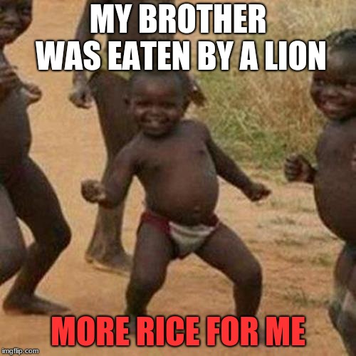 Third World Success Kid | MY BROTHER WAS EATEN BY A LION MORE RICE FOR ME | image tagged in memes,third world success kid,africa | made w/ Imgflip meme maker