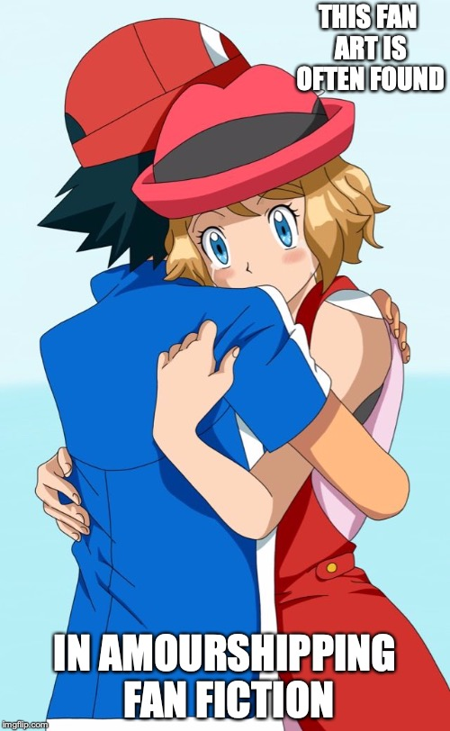 Best Amourshipping Fan Art |  THIS FAN ART IS OFTEN FOUND; IN AMOURSHIPPING FAN FICTION | image tagged in fan art,amourshipping,ash ketchum,serena,memes,pokemon | made w/ Imgflip meme maker