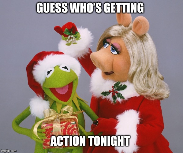GUESS WHO'S GETTING ACTION TONIGHT | image tagged in kermit meme,miss piggy,christmas,mistletoe,sex | made w/ Imgflip meme maker
