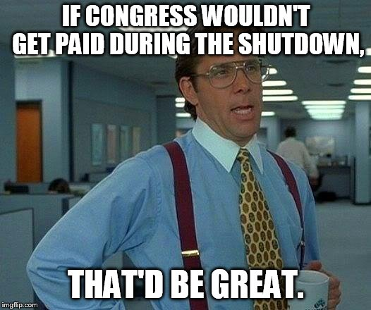 no work, no pay | IF CONGRESS WOULDN'T GET PAID DURING THE SHUTDOWN, THAT'D BE GREAT. | image tagged in memes,that would be great | made w/ Imgflip meme maker