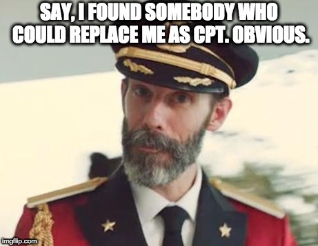 Captain Obvious | SAY, I FOUND SOMEBODY WHO COULD REPLACE ME AS CPT. OBVIOUS. | image tagged in captain obvious | made w/ Imgflip meme maker