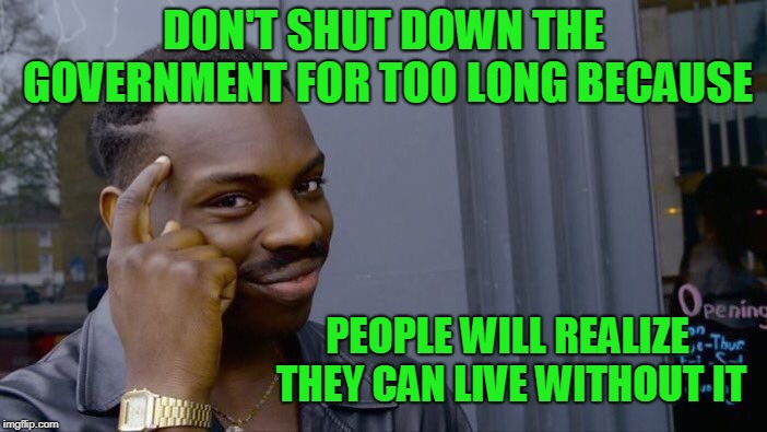 How about we bring back government programs as needed. | DON'T SHUT DOWN THE GOVERNMENT FOR TOO LONG BECAUSE PEOPLE WILL REALIZE THEY CAN LIVE WITHOUT IT | image tagged in memes,roll safe think about it | made w/ Imgflip meme maker