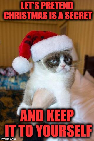 Shhh… | LET'S PRETEND CHRISTMAS IS A SECRET AND KEEP IT TO YOURSELF | image tagged in memes,grumpy cat christmas,grumpy cat,santa hat | made w/ Imgflip meme maker