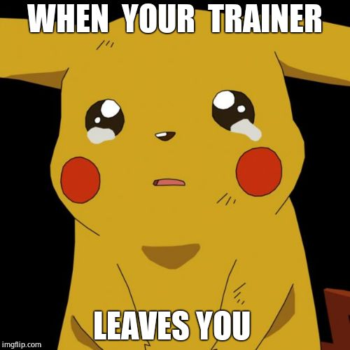 Pikachu crying | WHEN  YOUR  TRAINER LEAVES YOU | image tagged in pikachu crying | made w/ Imgflip meme maker