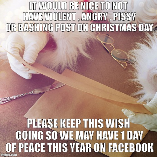 Christmas wish | IT WOULD BE NICE TO NOT HAVE VIOLENT , ANGRY , PISSY OR BASHING POST ON CHRISTMAS DAY PLEASE KEEP THIS WISH GOING SO WE MAY HAVE 1 DAY OF PE | image tagged in peace,wish | made w/ Imgflip meme maker