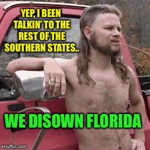 almost redneck | YEP, I BEEN TALKIN' TO THE REST OF THE SOUTHERN STATES.. WE DISOWN FLORIDA | image tagged in almost redneck | made w/ Imgflip meme maker