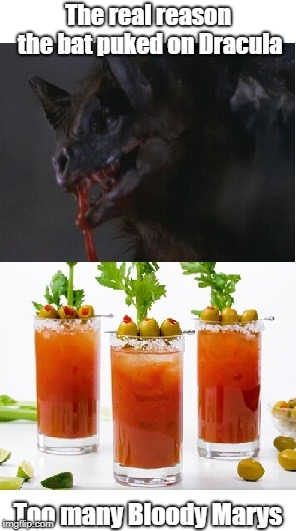 Scars of Dracula bat |  The real reason the bat puked on Dracula; Too many Bloody Marys | image tagged in bat,dracula | made w/ Imgflip meme maker