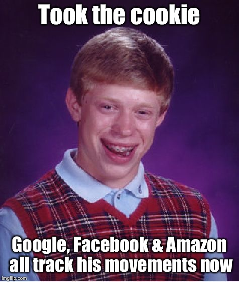 Bad Luck Brian Meme | Took the cookie Google, Facebook & Amazon all track his movements now | image tagged in memes,bad luck brian | made w/ Imgflip meme maker