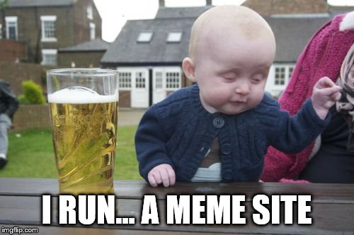 Drunk Baby Meme | I RUN... A MEME SITE | image tagged in memes,drunk baby | made w/ Imgflip meme maker