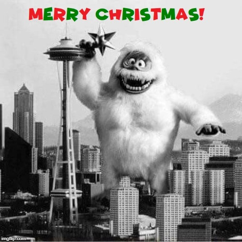 Seattle Space Needle Christmas The Bumble, The Abominable Snowman | image tagged in seattle,christmas,rudolph | made w/ Imgflip meme maker