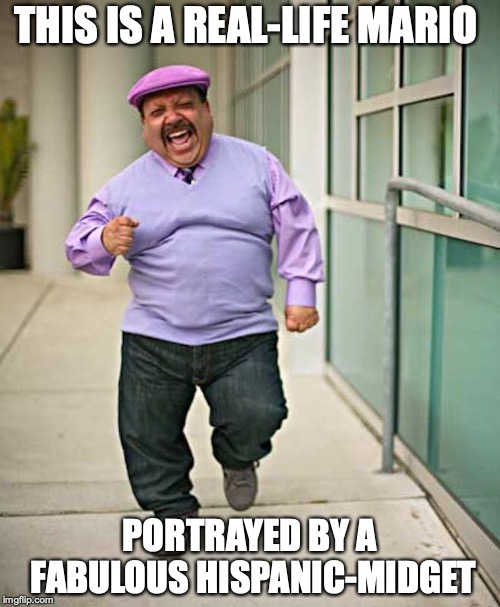 Real-Life Mario | THIS IS A REAL-LIFE MARIO PORTRAYED BY A FABULOUS HISPANIC-MIDGET | image tagged in mario,memes,hispanic,super mario | made w/ Imgflip meme maker