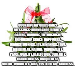 COUNTING MY CHRISTMAS BLESSINGS: ABUNDANCE, BEAUTY, CARING, DANCING, ENTHUSIASM, FRIENDSHIP, GRACE, HAPPINESS, INQUISITIVENESS, JOY, KINDNES | image tagged in christmas 2018 | made w/ Imgflip meme maker