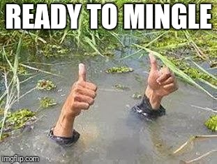 FLOODING THUMBS UP | READY TO MINGLE | image tagged in flooding thumbs up | made w/ Imgflip meme maker
