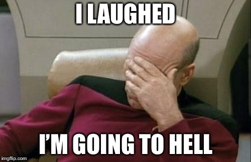 Captain Picard Facepalm Meme | I LAUGHED I'M GOING TO HELL | image tagged in memes,captain picard facepalm | made w/ Imgflip meme maker