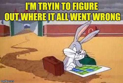 Bugs Bunny Albuquerque | I'M TRYIN TO FIGURE OUT WHERE IT ALL WENT WRONG | image tagged in bugs bunny albuquerque | made w/ Imgflip meme maker